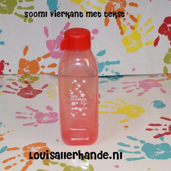 Super Tupperware eco fles 500ml rood met tekst vierkant model (draaidop TY-67